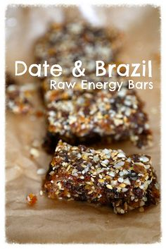 Date Brazil Energy Bars by Rachel Cotterill - raw vegan recipe Nut Recipes, Raw Vegan Recipes, Vegan Desserts, Vegetarian Recipes, Cooking Recipes, Vegan Raw, Paleo Dessert, Recipies, Granola
