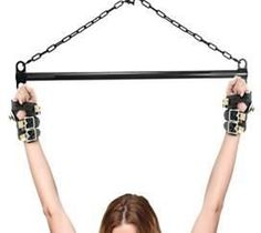 Suspension Cuff Kit with Steel Bar This all in one suspension kit features two top of the line, comfortable, durable, and secure leather cuffs, with an ultra heavy duty black bondage bar. You can attach the cuffs to the bar with rope, carabiners, snap hooks, or however you wish. Hang the bar from the ceiling or a supportive frame, it is designed to take weight without bending or warping. This top of the line bondgekit contains the essentials to get started with suspension play.