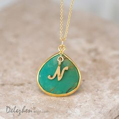 Personalized Necklace - Green Turquoise Necklace - Script Letter - Monogram Necklace - Gold Necklace - Personalized Jewelry by delezhen on Etsy