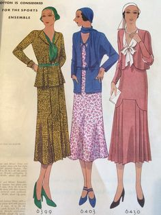 McCall 6399, 6403 and 6430 in McCall Quarterly Fashion Pattern Book, Spring 1931
