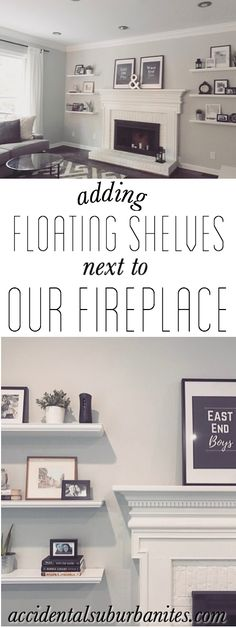 Floating shelves diy living room fireplace mantle white brick fireplace