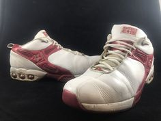 1c691a078e5 VINTAGE CONVERSE ICON ALL STAR White Red Leather Basketball Shoes Mens Size  12