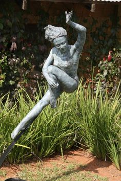 #Bronze #sculpture by #sculptor Heidi Hadaway titled: 'Leaping Girl (Dancing…