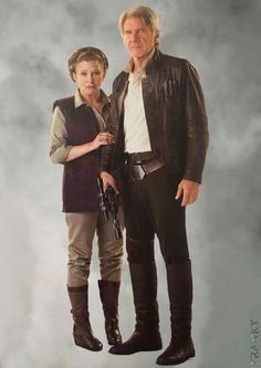 Leia Organa Skywalker and Han Solo in Star Wars Episode VII The Force Awakens