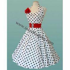 Rockabilly Dress white with black dots