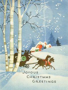 Vintage Sleigh Christmas Card