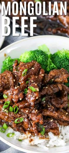 This Easy Mongolian Beef recipe uses slices of tender beef coated in a sweet and salty sauce. Serve over a bed of rice with a side of broccoli for a meal that will definitely impress your guests! #spendwithpennies #easymongolianbeef #maindish #PFChangs #copycat #homemade