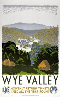 Wye Valley, Vintage English Railway Travel Poster Print by GWR & LMS..16