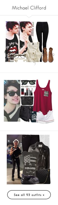 """""""Michael Clifford"""" by mackie-3233 ❤ liked on Polyvore featuring Forever New, H&M, With Love From CA, Maison Margiela, INDIE HAIR, Orelia, Lancôme, Ray-Ban, TOMS and Converse"""