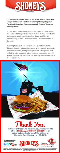 Pinned May 20th: Free burger to military the 30th at #Shoneys restaurants #coupon via The #Coupons App