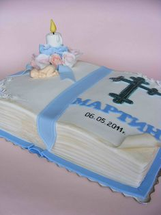 christening cake in blue Cake Decorating Tutorials, Cookie Decorating, Gorgeous Cakes, Amazing Cakes, Bible Cake, Panda Cakes, Communion Cakes, Baby Shower Cakes, Baby Cakes