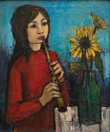 Meisje met blokfluit door Hubertus Johannes (Ber) Mengels 1921-1995