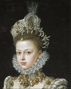 Detail of portrait Isabella Clara Eugenia by Alonso Sanchez Coello 1579