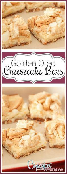 Cheesecake Bars with Golden Oreo Chunks! Oreo Bars, Oreo Cheesecake Recipes, Cheesecake Bites, Fluffy Cheesecake, Oreo Brownies, Cheesecake Cupcakes, Cheesecake Brownies, Raspberry Cheesecake, Oreo Cookie Bar