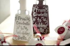 Tiny cowbells to ring instead of throwing rice or birdseed! For an MSU wedding