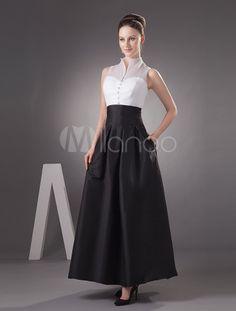 Vestido de noche de tafetán con escote alto de línea A - Milanoo.com