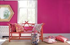 Hot Pink with white Trims and light coloured floor