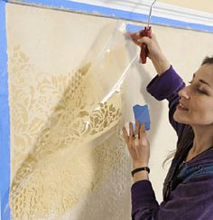 This is Brilliant!!!  Cutting Edge Stencils.  Damask stenciling instructions. Learn how to stencil from pros! DIY wall decor
