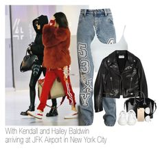 """""""With Kendall and Hailey Baldwin arriving at JFK Airport in New York City"""" by kylizie ❤ liked on Polyvore featuring Ashish, Topshop, Yves Saint Laurent, Givenchy, Ash, Victoria Beckham, life, kendalljenner and haileybaldwin"""