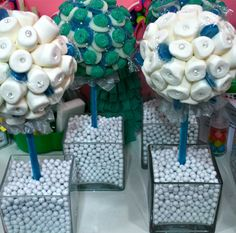 blue and white dessert bar | Blue White Marshmallow Lollipop Candy Land Centerpiece Topiary Tree ...
