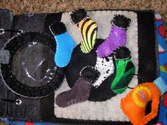 """Sock matching page with """"Tide"""" laundry bottle, so that kids can pretend to pour detergent in"""