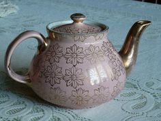 Vintage HALL Pink and Gold Detailed Tea Pot  by MercysVintageHome, $49.00