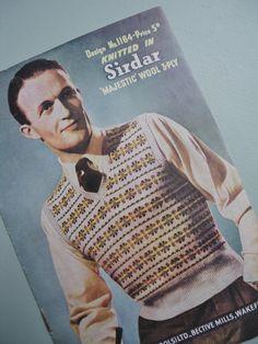 Vintage 1940s Knitting Pattern Mens Pullover Vest, '40s Fair Isle pattern.