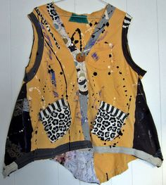 Hand painted Yellow Upcycled cotton Artist vest fits by monapaints, $229.00