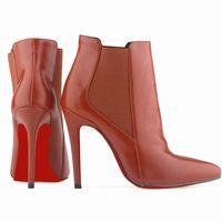 Inferiores rojos de moda para mujer SEXY punta estrecha imitación de cuero tacones de aguja plataforma tobillo patea los zapatos 769-2YP-RB