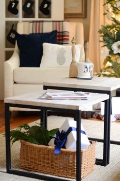 Box Frame Nesting Tables + Sweep Armchair from west elm