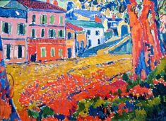 Maurice de Vlaminck (1876 - 1958) was een Frans kunstschilder en graficus. Hij is een belangrijk vertegenwoordiger van deschilderkunst van de 20e eeuw. Zijn werk valt onder het Fauvisme. Zijn stijl werd sterk beïnvloed door Vincent Van Gogh en Paul Cézanne. Restaurant La Machine à Bougival, 1905