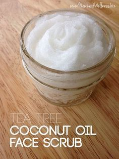 Homemade Tea Tree Coconut Oil Face Scrub...Must remember to add sugar next time I make my face cleanser. #FaceMasks