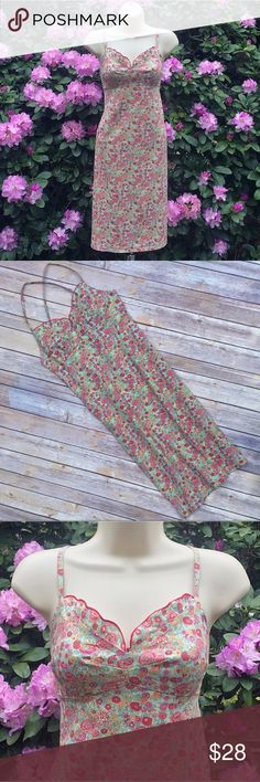Beautiful floral sundress from Harold's Really nice Harold's sundress made of a cotton/lycra blend with beautiful and delicate little flowers all over it in shades of red, pink, orange, yellow and green.  Fitted and ruffle-lined bustier top with thin straps that cross in the back and an empire waist.  Double-lined at top, slim fit, and back zipper.  Excellent condition.  Size 10 - see picture for exact measurements. Harold's Dresses
