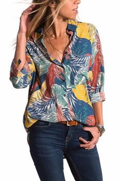 Women's Long Sleeve Loose Shirts-Tree Leaf Print or Bohemian Abstract Pattern Shirts-up to Loose Shirts, Button Up Shirts, Top Azul, Shirt Collar Pattern, High Low Shirt, Jeans Bleu, Cheap Blouses, Ladies Blouses, Blouse Vintage