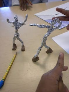 We looked at the artist Giacometti and created foil figures. Students added modeling clay for shoes to allow their figures to stand.  One s...