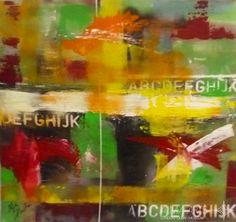 "Abstract - Alma Arts Agency Olga Dacha/""Numbers 3"", 2014. Acrylic on canvas 40x40cm"