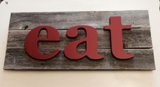 eat sign | Wooden letters wall Art | fixer upper style | Letters on Reclaimed Wood | Kitsch | Modern Rustic | kitchen decor by ASimplePlaceOnMain on Etsy
