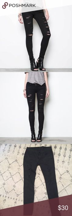 Ripped Low Rose Skinny Jeans - Black Power Stretch Wash: slashed black / material: cotton, poly, spandex DSTLD Jeans Skinny