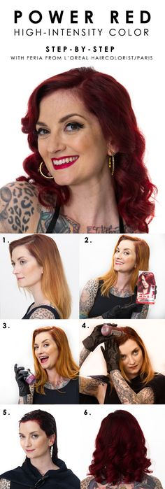 How to go deep red with L'Oreal Paris Feria Power Red in R57 Cherry Crush. Watch Cherry Dollface's transformation and how-to video for complete steps.