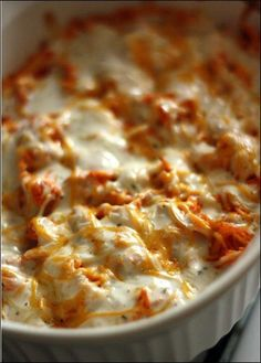 Buffalo Chicken Dip: Cook And Shred 1 Lb Chicken. Mix 1.5 Cups Frank*s Red Hot Sauce With Shreded Chicken. In Ungreased Baking Dish Spread 8 Oz Cream Cheese. Add Buffalo Chicken On Top Of Cream Cheese. Sprinkle 1 C Mexican Blend Cheese. Drizzle 1 C Ranch Dressing. Bake At 350 For 20-25 Minutes Until Dip Is Melted And Bubbling. Serve With Chips Or Veggies! Yum! - Click for More....