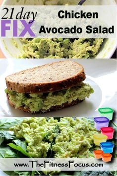 Easy 21 Day Fix Approved Chicken Avocado Salad recipe perfect on bread, bed of greens, or straight from the bowl.