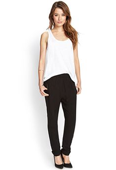 Faux Leather-Trimmed Joggers | LOVE21 - 2000068720