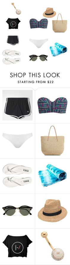 """""""beach with squad"""" by reema-fayez on Polyvore featuring adidas, Billabong, Topshop, Target, Ray-Ban and Gottex"""