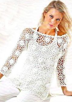 Free crochet patterns and video tutorials: How to crochet blouse,top, sweater free pattern