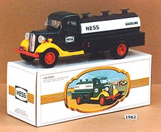 """It wasn't until 1982 that Hess released what they called the """"first Hess truck,"""" a replica of the second-hand truck that company founder Leon Hess drove in 1933. This toy truck's real life inspiration was restored and is currently displayed in their Woodbridge, NJ office."""