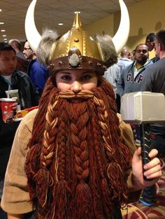 Make a dwarf/viking beard in an evening, with chain-store yarn and a small piece…