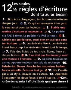 Educational infographic : 12 regles d ecriture dont tu auras besoin Writing Advice, Writing A Book, Writing Prompts, Fiction Writing, Writing Motivation, French Expressions, French Classroom, Writing Challenge, Song Challenge