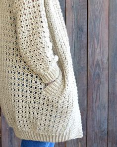 I really enjoy making cocoon sweaters. Trust me when I say, any crocheter can make this Urban Chic Cocoon Sweater Crochet Pattern! Crochet Poncho Patterns, Crochet Cardigan Pattern, Crochet Stitches Patterns, Double Crochet Decrease, Back Post Double Crochet, Cocoon Sweater, Simple Crochet, Urban Chic, Jacket Pattern