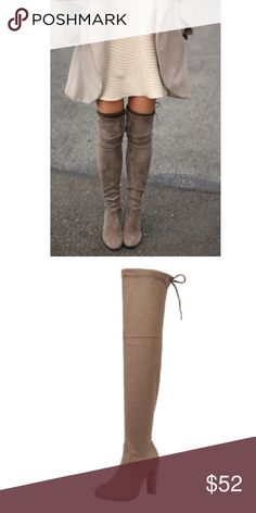 """Taupe Suede Over the Knee Boots Available in Sizes 5.5, 6, 6.5, 7, 7.5, 8, 8.5, 9, 10 New in box.  Vegan suede Over The Knee Heeled Boots. Shaft height 26"""" including heel. 14.5 top opening circumference, 4 inch heel. Stays up while walking! I own a pair myself and I'm absolutely in love with them! Amazing boots!  ✔️Bundle discount: 10% off 2+ items.  ❌No trades clmayfae Shoes Over the Knee Boots"""