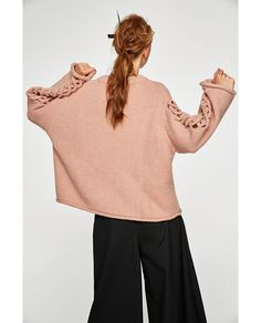 SWEATER WITH BRAIDED SLEEVES